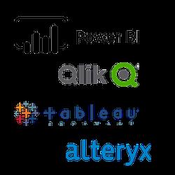 Data analytics tools: Power BI, Tableau, Alteryx