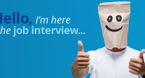 An anonymous data science candidate with a paper bag over his head.