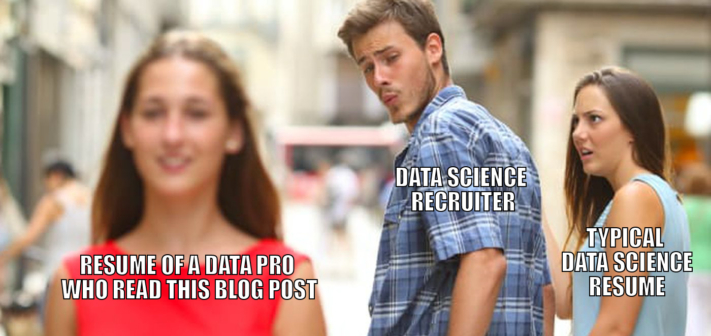Data science recruiter checking out a noticeable resume