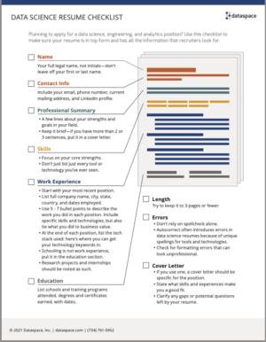 Thumbnail of Data Science Resume Checklist